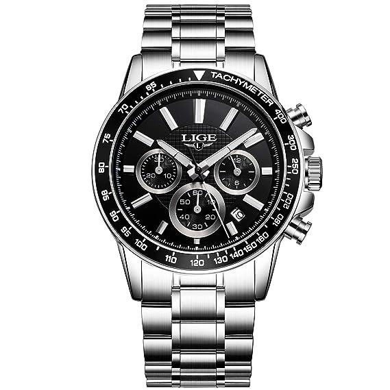 Relojes, Relojes Hombre, Negocios multifunción Resistente al Agua con Calendario Reloj de Cuarzo analógico Hombres Reloj de Pulsera de Acero ...