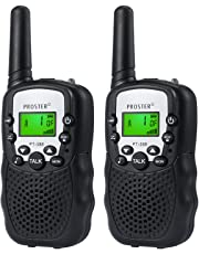 Proster Children Walkie Talkies 2 pcs Long Range Kids Walky Talky 8 Channels Two-Way Radios with LED Light on The Top (Black)