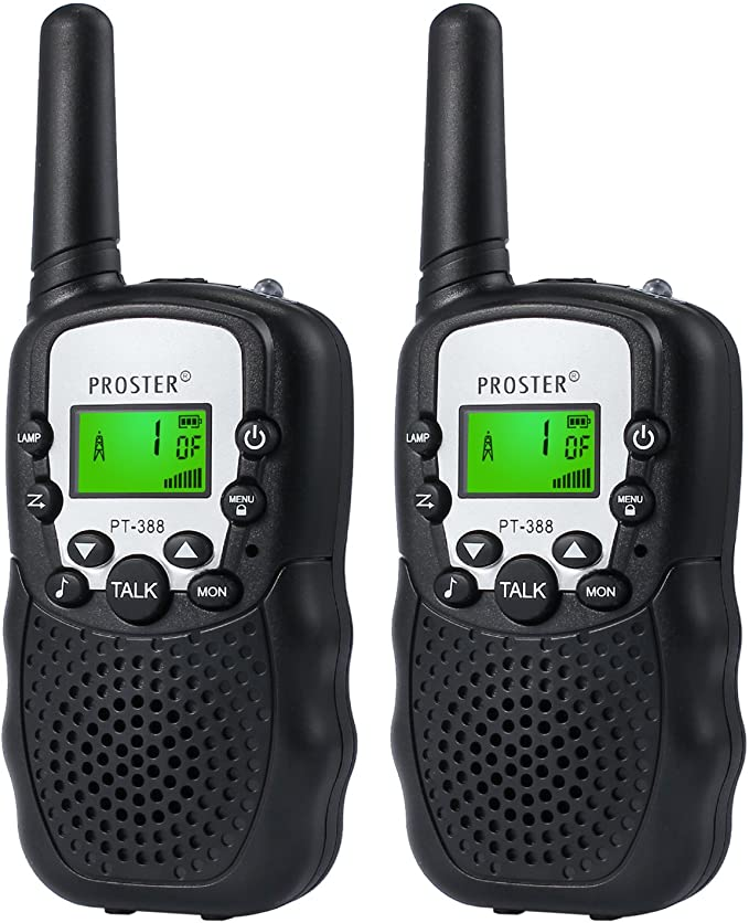 Black Proster Children Walkie Talkies 2 pcs Long Range Kids Walky Talky 8 Channels Two-Way Radios with LED Light on The Top