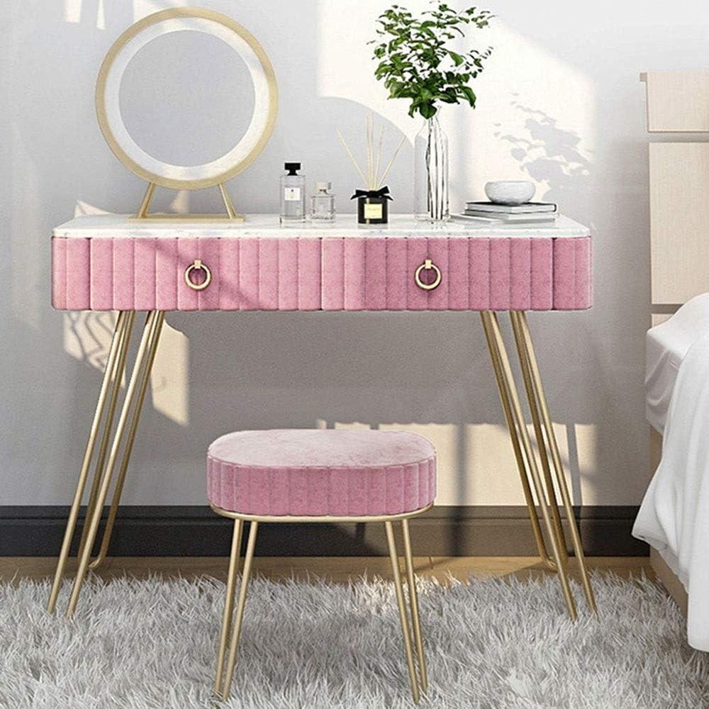 Tocadores Moderna nórdica Hierro vanidad de maquillaje tabla for las niñas con espejo y Acolchonadas heces, Tocador con 2 cajones Muebles de dormitorio modernos ( Color : Pink , Size : 120x40x75CM )