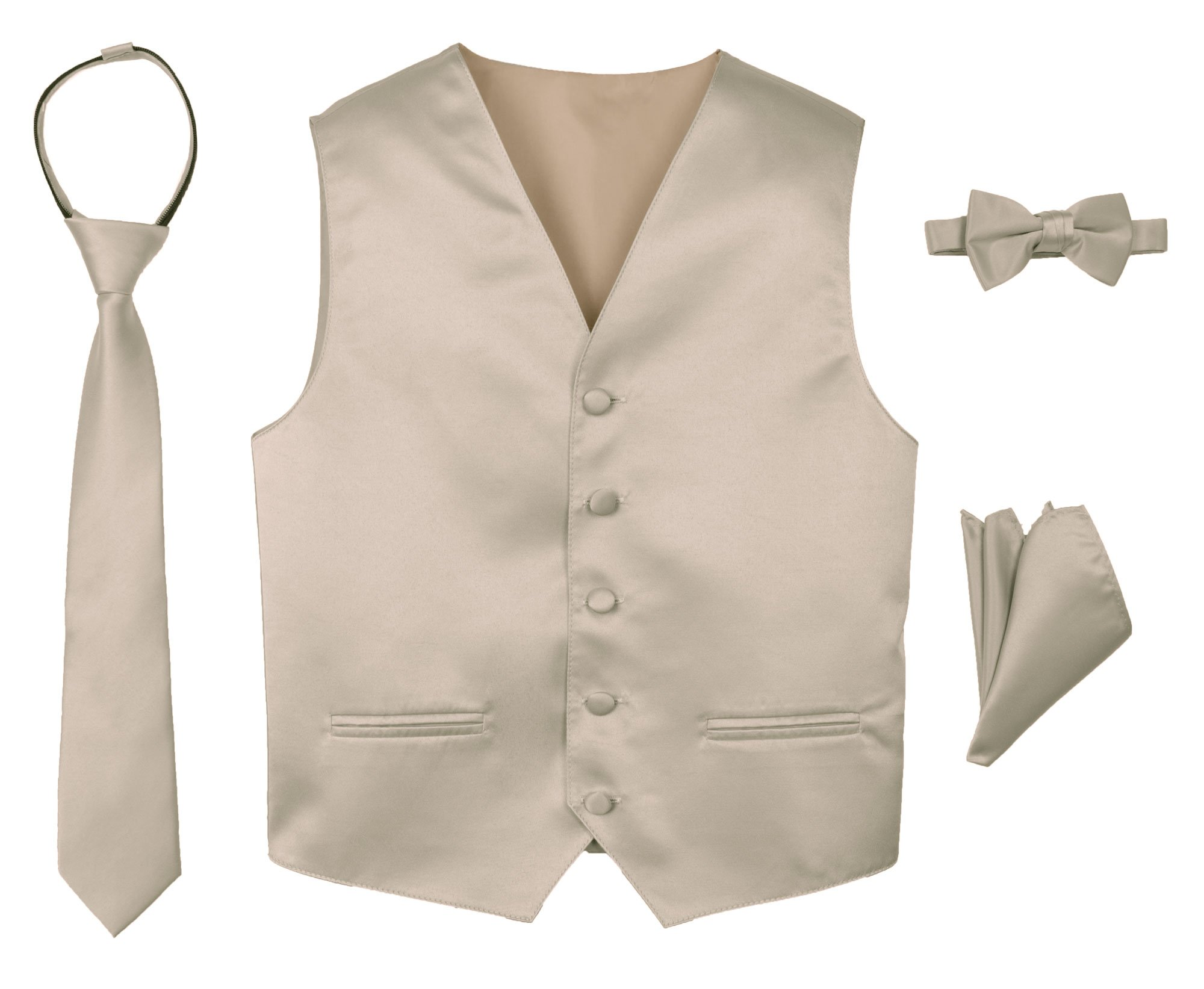 Spring Notion Boys' 4-Piece Satin Tuxedo Vest Set 6 Champagne