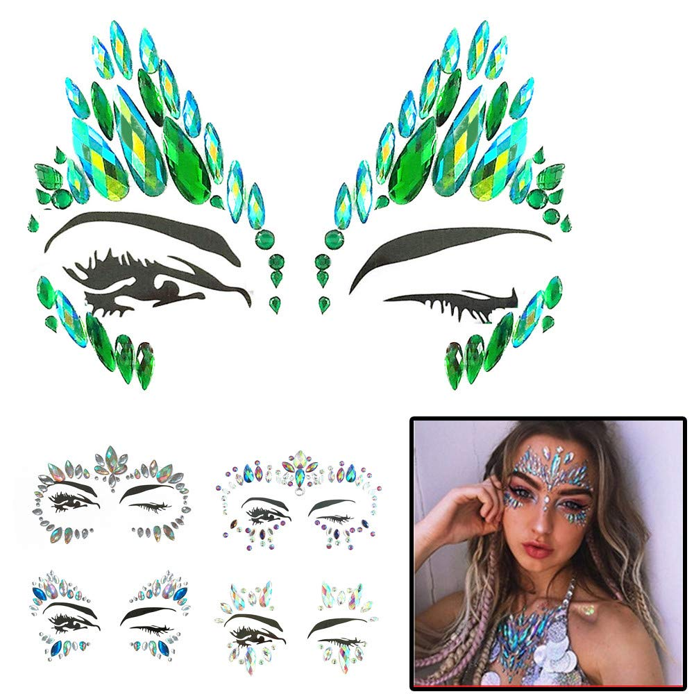 Kashyk Face Gems Tattoo Stickers, Temporary Acrylic Diamond Sticker Face Jewels Shiny Mirror Drill Sticker Body Jewelry for Music Festival Halloween Party Makeup Dance Party (E)