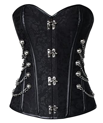 d6a5c280073 Charmian Women s Steampunk Gothic Spiral Steel Boned Brocade Waist Cincher  Overbust Corset with Chains Black Small