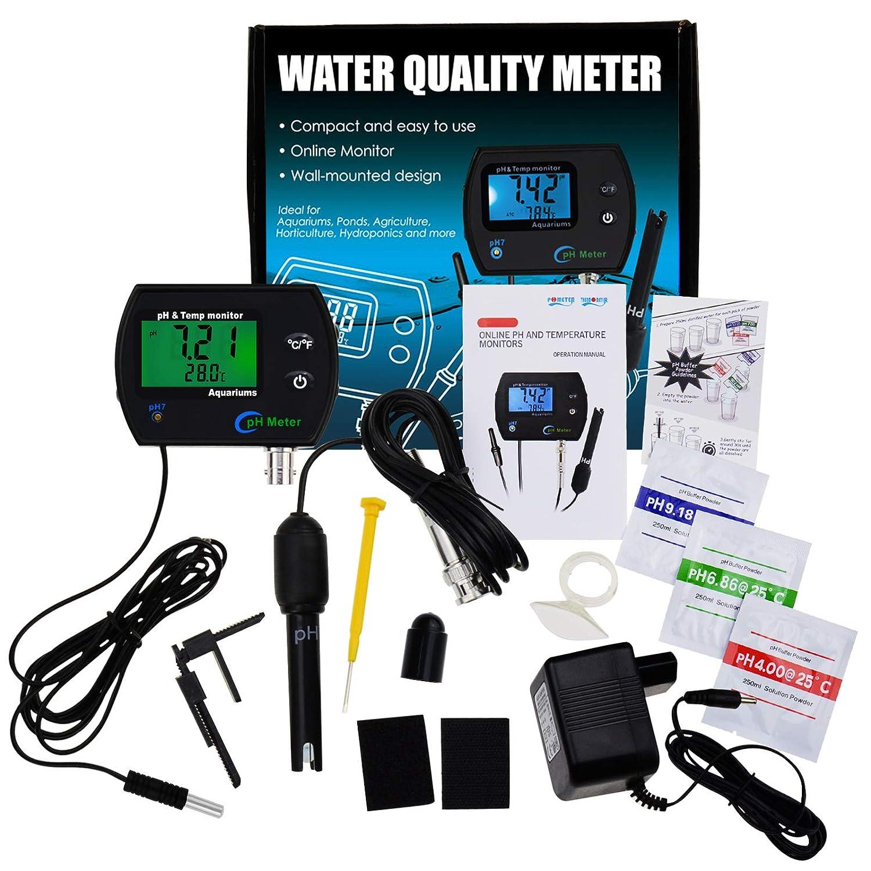 2 en 1 Combo pH /& Temp/érature M/ètre Eau Qualit/é Testeur Rempla/çable BNC pH /Électrode pour Aquariums Hydroponique R/éservoirs Aquaculture Laboratoire