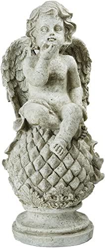 Northlight Cherub Angel Sitting on Finial Holding a Bird Outdoor Garden Statue