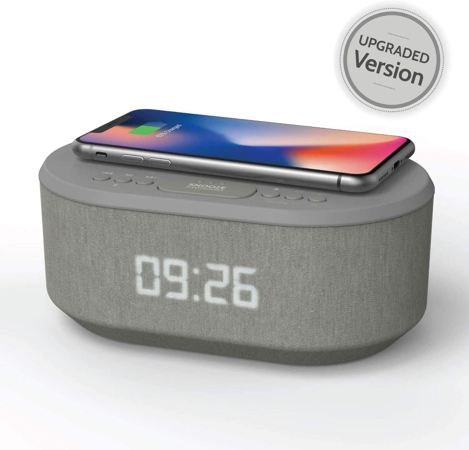 Bedside Radio Alarm Clock with USB Charger, Bluetooth Speaker, QI Wireless Charging, Dual Alarm Dimmable LED Display (Grey)