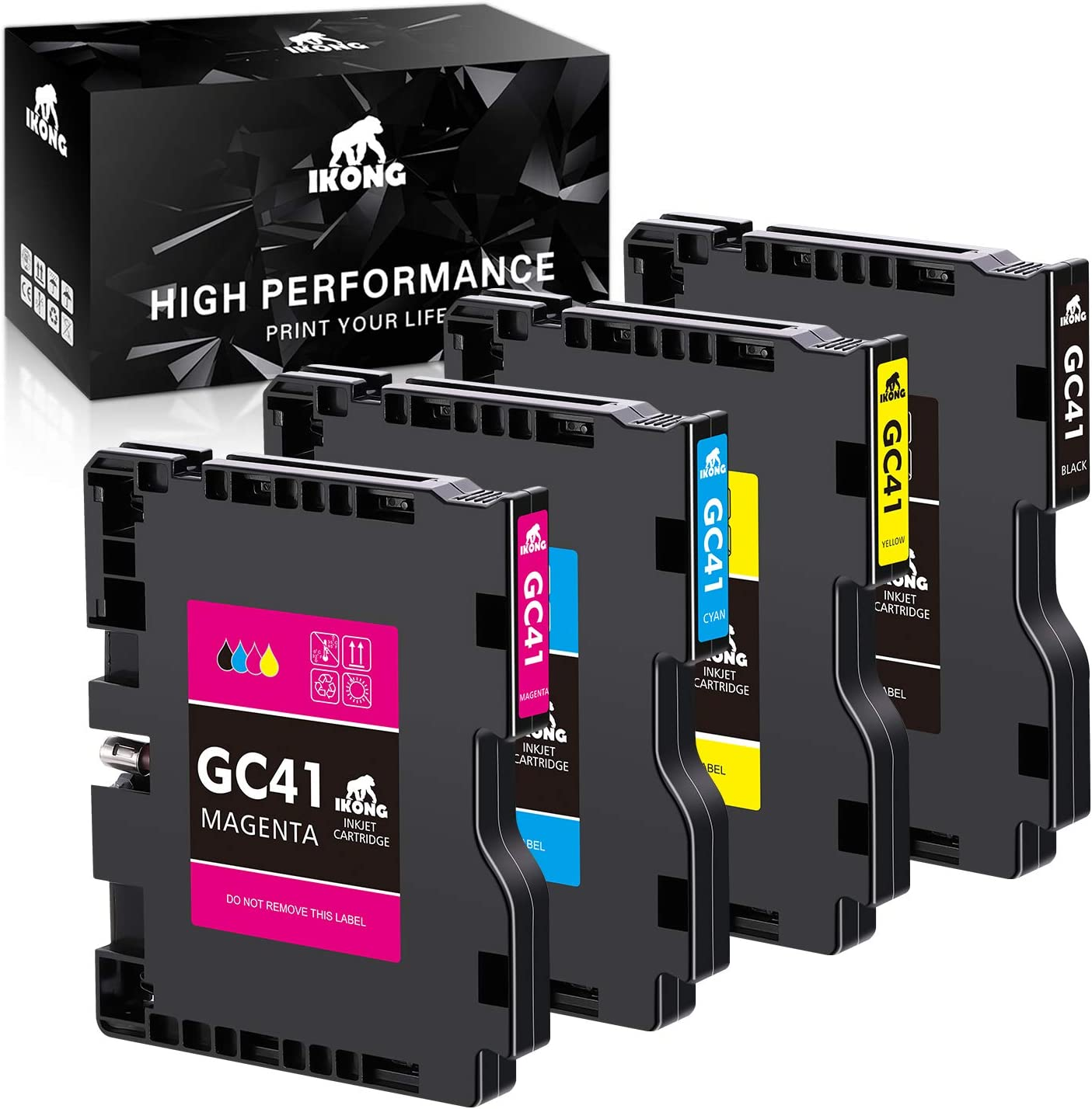 IKONG Compatible Ink Cartridges Replacement for Ricoh GC41 GC-41 GC41BK GC41C GC41M GC41Y for Aficio SG 3100SNW, Aficio SG 3110DN, 3110Dnw, 3110Sfnw, 7100DN, IPSIO SG 2100 2100N 2010L (4-Pack)