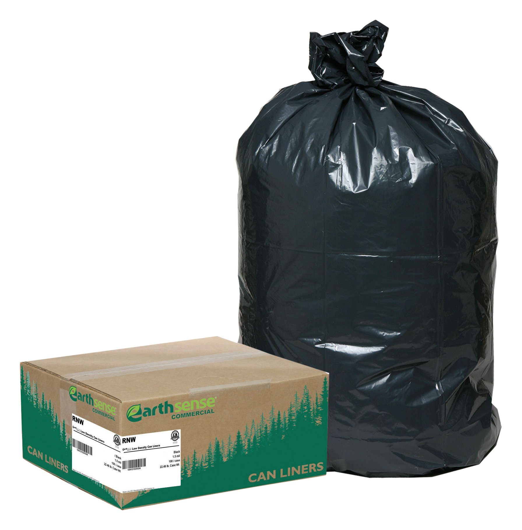 Earthsense Commercial RNW4760 Can Liner, 43 x 47, 56 gal Glutton, 1.65 mil, Black (Pack of 100)
