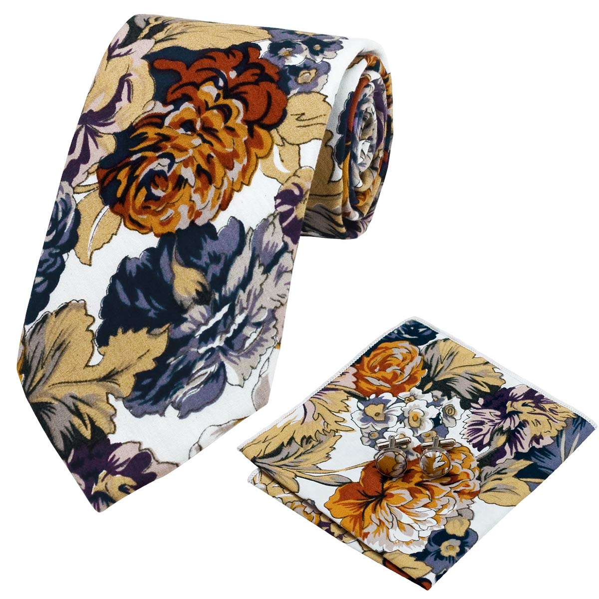Fashion men ties flower tie pocket square cufflinks necktie set wedding party business