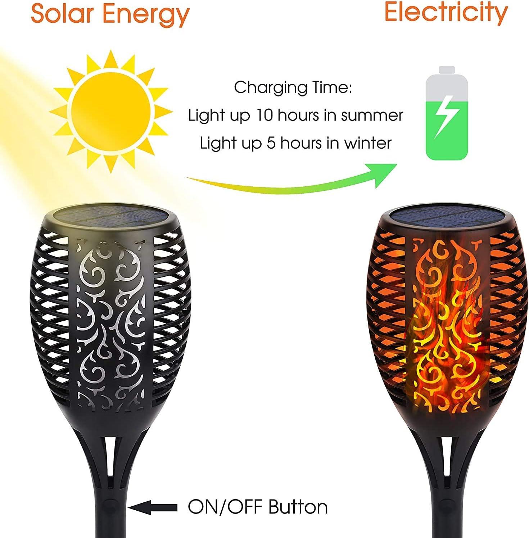 12 LED Solar Fackellichter im Freien lange Arbeitszeit: /Über 10 Stunden wasserdicht tanzende flackernde Flamme Solarleuchten f/ür Weg//Rasen//Garten//Landschaft usw