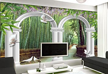wapel custom 3d photo wall paper bamboo garden white arches 3d wallpaper modern for living room
