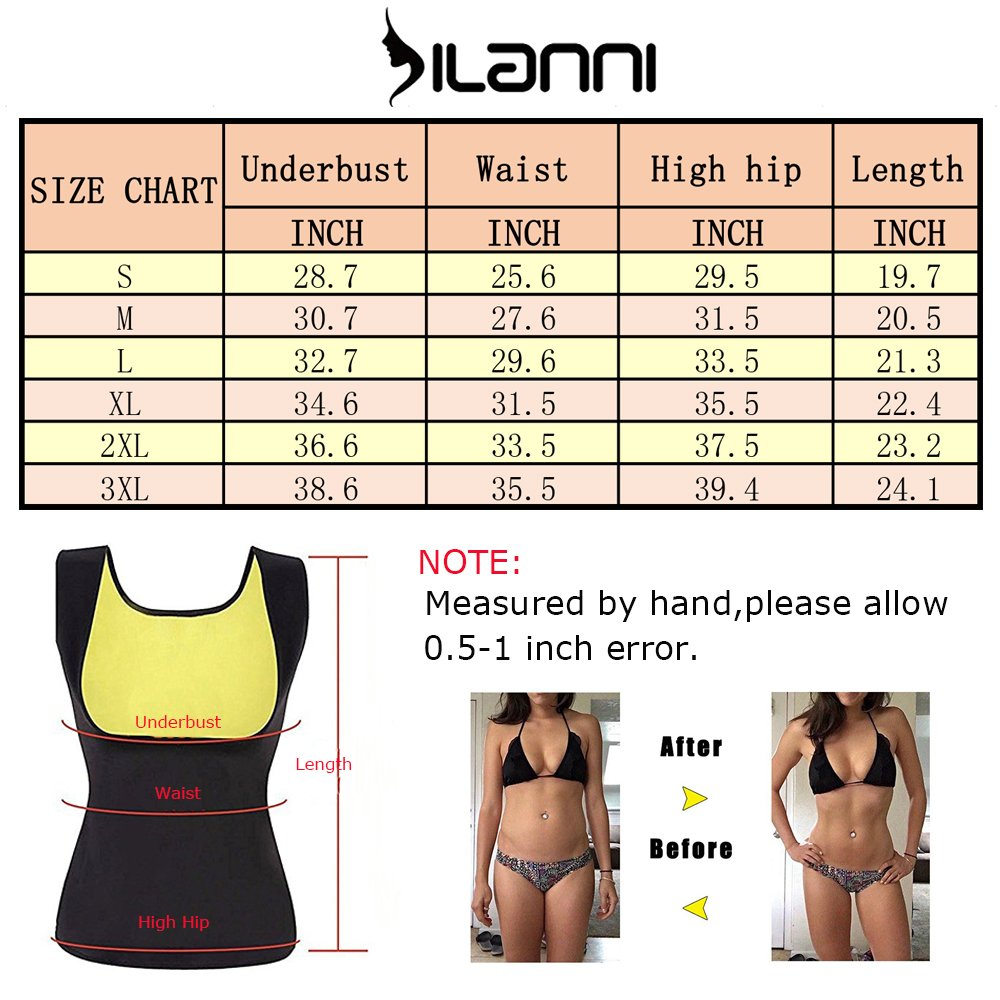 DILANNI Women/'s Hot Sweat Slimming Neoprene Vest Sauna Waist Trainer Thermo Body Shaper S-3XL