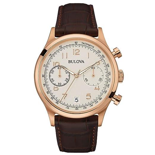 48cf9d4682cf Bulova Classic Vintage 97B148 - Reloj de Pulsera de diseño para Hombre -  Función de cronógrafo - Correa de Cuero - Esfera Blanca - Color Oro Rosa   ...