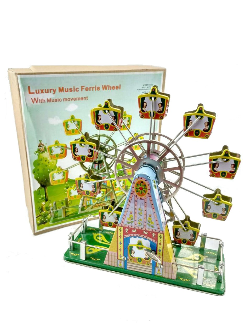 tin toys new collector wind up metal Ferris wheel by tin toys