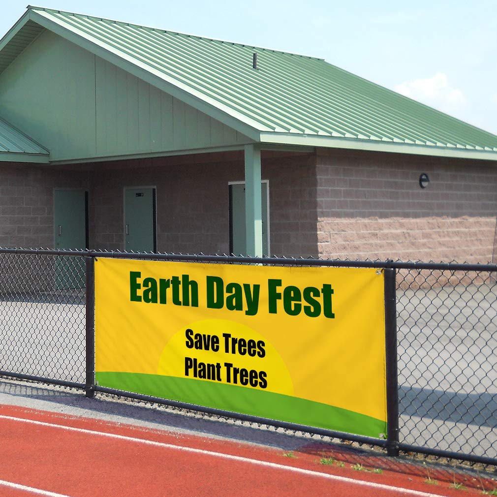 Vinyl Banner Sign Earth Day Save Trees Plant Trees Save Marketing Advertising Orange 6 Grommets Multiple Sizes Available Set of 2 32inx80in