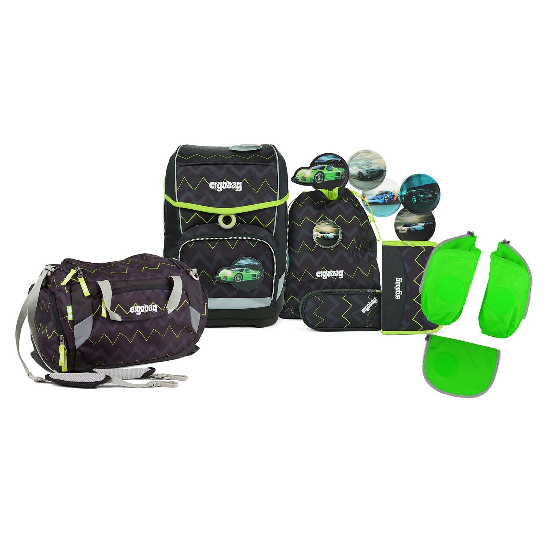 Ergobag - Schulranzen Set 5 tlg. CUBO - Drunter und DrüBär inkl. Sporttasche und Seitentaschen (3tlg.)- Auswahl (Grün)