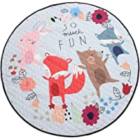 Blesiya Kids Game Toy Play Mat Crawling Floor Mat Rugs, Cute Baby Carpet Blanket, 60inches, Round, Foldable Reversible, Toy Storage Bags Playmat Picnic Mat - Fox and Friend, 150cm or 60inch