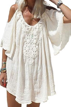 Yacun Camisa De Hombro Frío De Verano para Mujer Minivestido De Playa Suelto Bikini Cubrir: Amazon.es: Ropa y accesorios