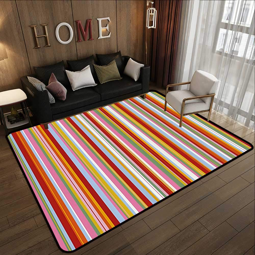Pattern04 63 x 94 (W160cm x L240cm) Carpet mat,Retro,Traditional Scottish Tartan Pattern Classic Symmetric Vintage Checkered Striped Tile,Multicolor 63 x 94  Floor Mat Entrance Doormat