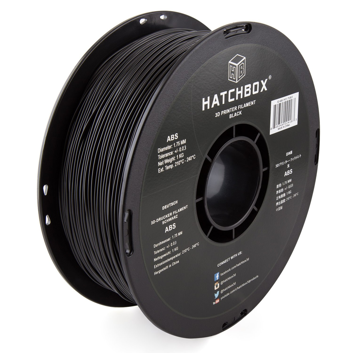 HATCHBOX 1.75mm Black ABS 3D Printer Filament - 1kg Spool ...