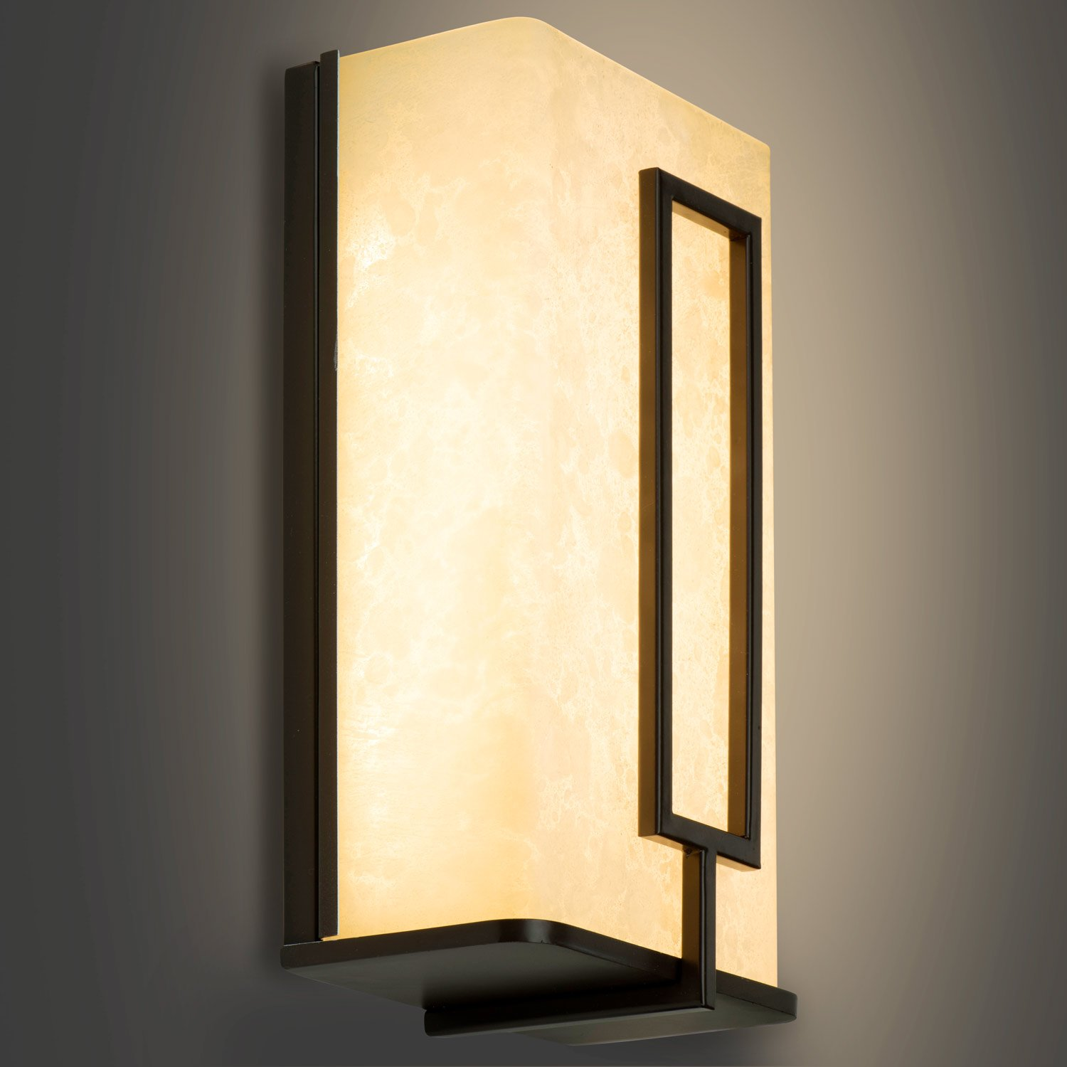 10-Inch 3000K Warm White Oil Rubbed Bronze with Amber Alabaster Glass ETL and ENERGY STAR Listed Dimmable Light Blue USA 550 Lumens LB74121 LED Wall Sconce