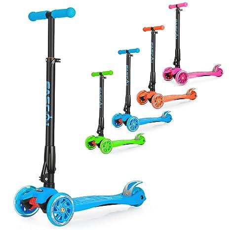 Wellewelle Patinete de 3 Ruedas con Diseño Scooter para Niños de 2 a 12 Años de