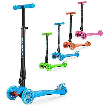 Fascol Patinete Plegable de 3 Ruedas niños de 3 a 12 años niños, Ruedas LED Light Up & diseño Plegable & Barra en T Ajustable & MAX Carga 60 kg, ...