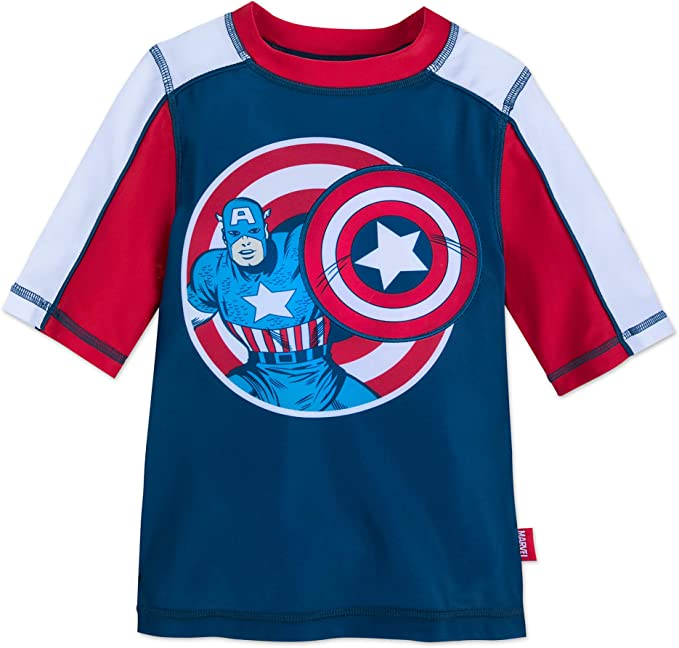 Disney Store Marvel Captain America Boy Rash Guard /& Swim Trunks Set Size 5//6