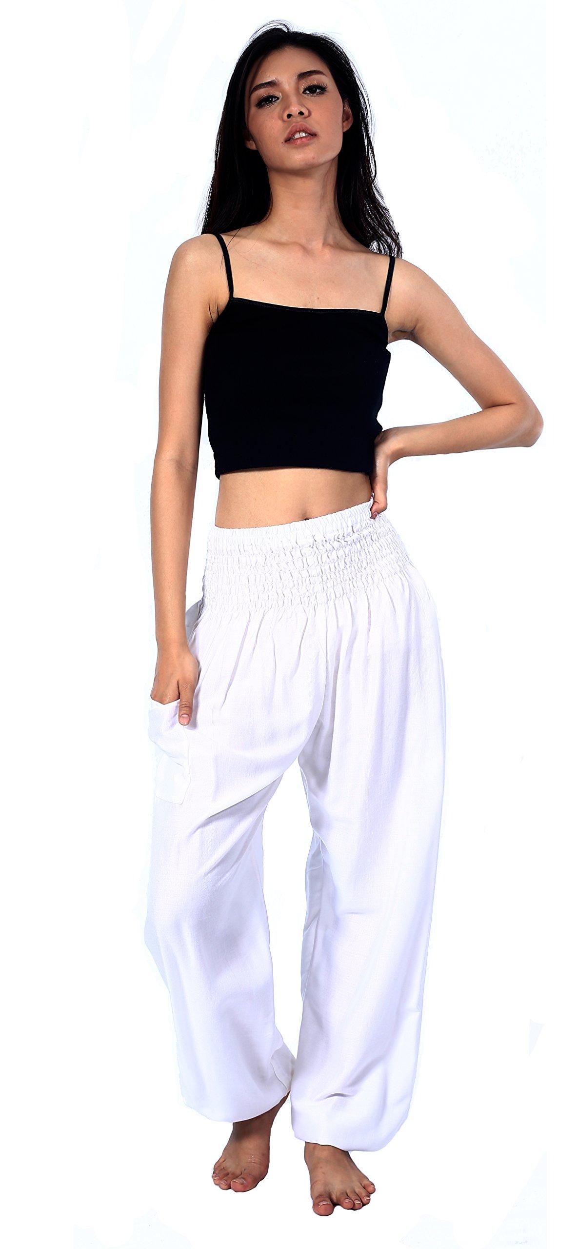 Boho Vib Women's Rayon Print Smocked Waist Boho Harem Yoga Pants (Small/Medium, Solid White) by Boho Vib (Image #2)