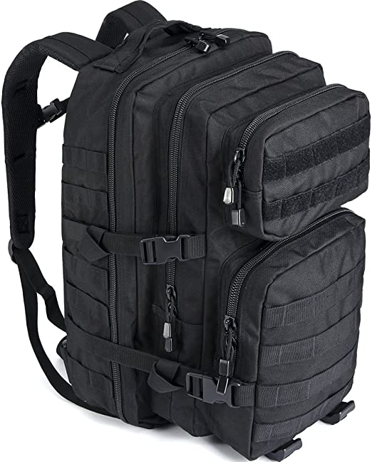 Aione Military Backpack,Tactical Backpack Army Assault Pack Molle Hydration System Rucksacks Bug Out Backpack with Hard Shell Top Pocket for Traveling,Camping,Trekking,Hiking 25L//38L