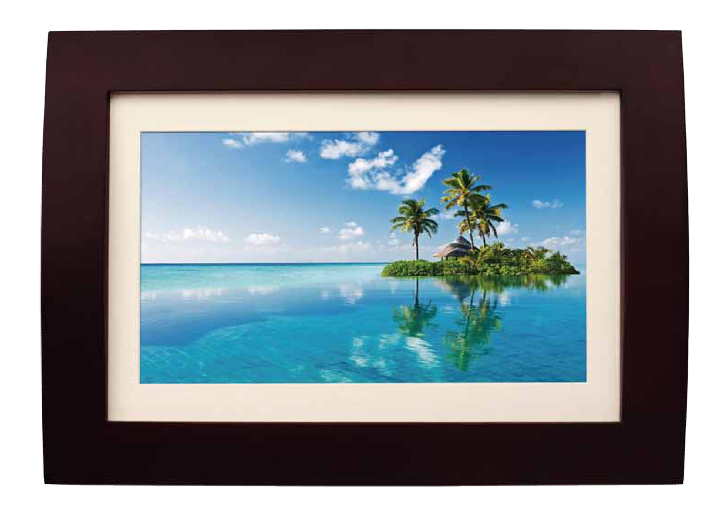 Sylvania SDPF1089 10-Inch LED Multimedia Wood Finished Digital Photo Frame with Remote Control and 2 GB Built in Memory (Brown) by Sylvania