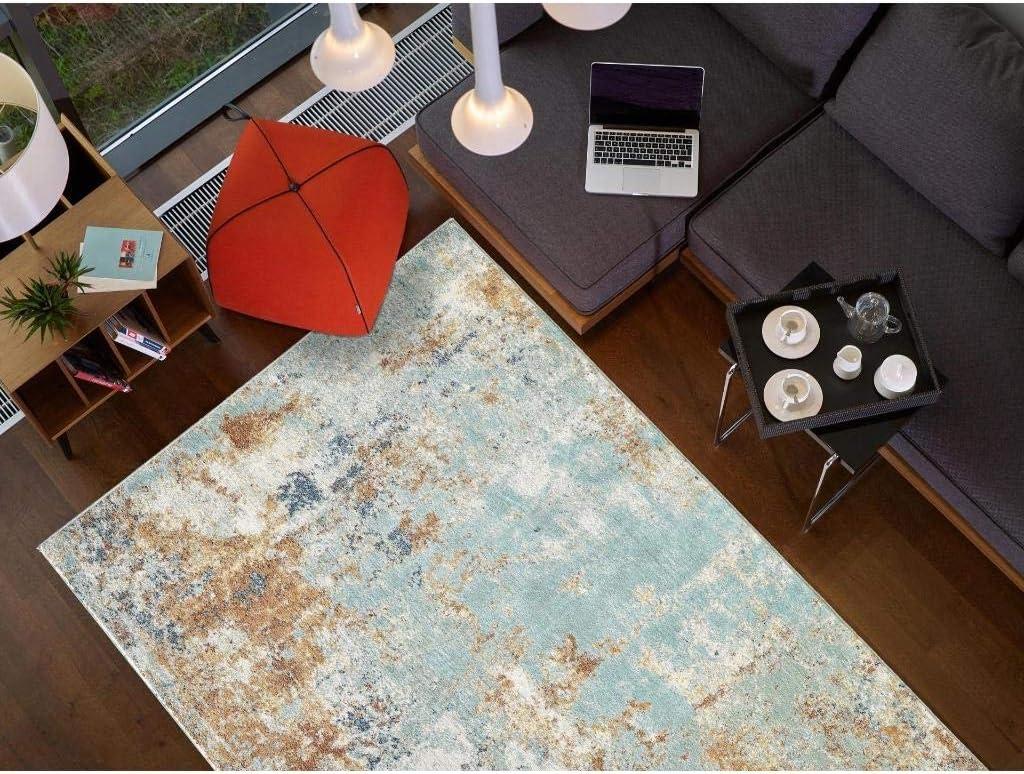 Luxe Weavers Kingsbury Collection Abstract 8x10 Aqua Turquoise Modern Area Rug