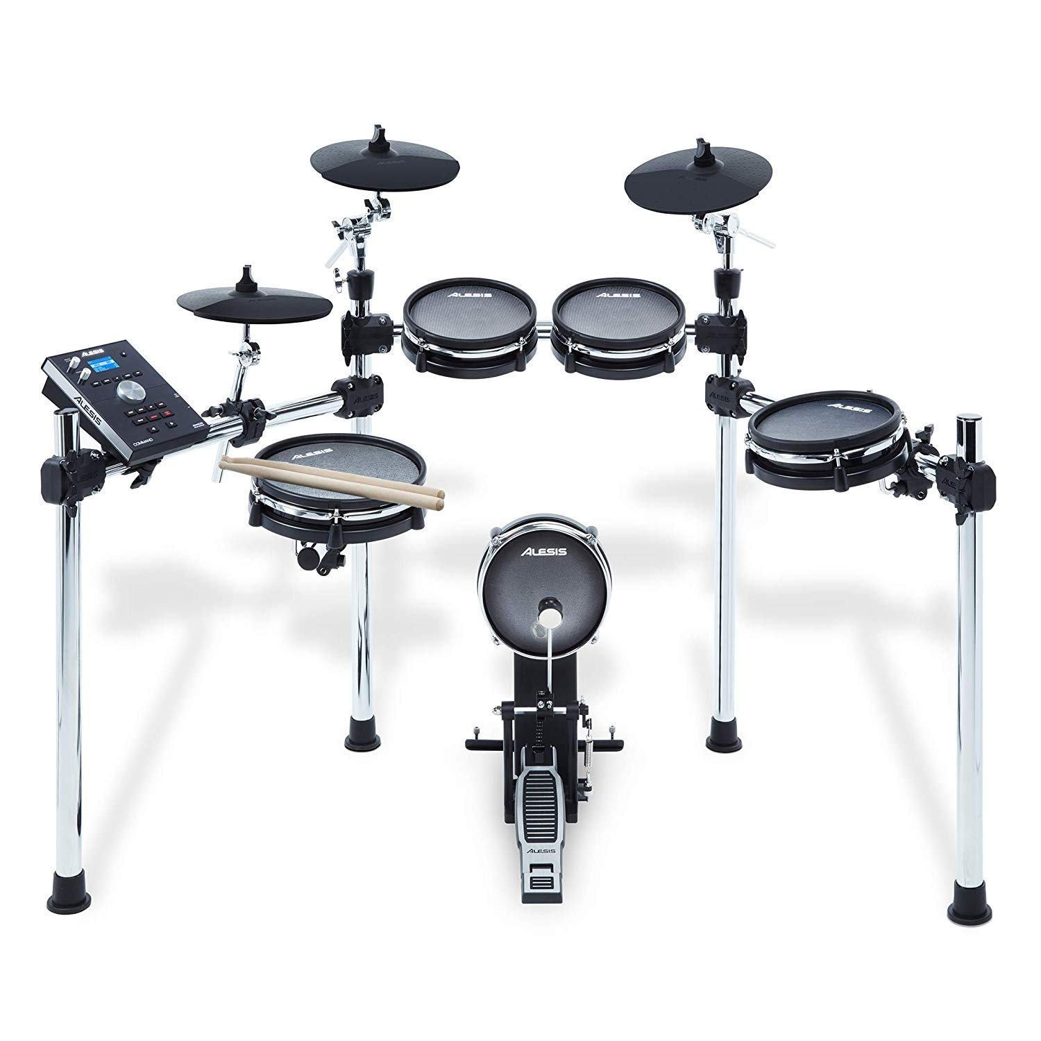 Alesis COMMAND MESH KIT Eight-Piece Electronic Drum Kit with Pair of Drumsticks + Samson SR550 Studio Headphones + Hosa 3.5 mm Interconnect Cable, 10 feet - Deluxe Accessory Bundle by Alesis (Image #2)