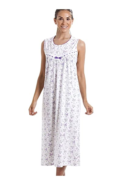 Camille Womens Classic Sleeveless Pink Floral Print 100/% Cotton White Nightdress