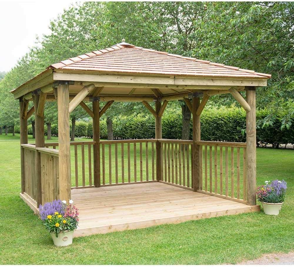 Cenador cuadrado de madera para jardín con techo de cedro de Inglaterra, 3, 5 m: Amazon.es: Jardín