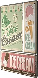 LEotiE SINCE 2004 Tin Sign Metal Plate Decorative Sign Home Decor Plaques Retro Ice Cream