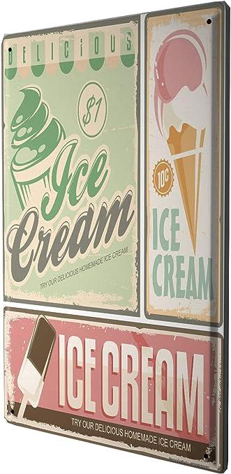 Amazon.com: Tin Sign Retro Ice Cream: Home & Kitchen