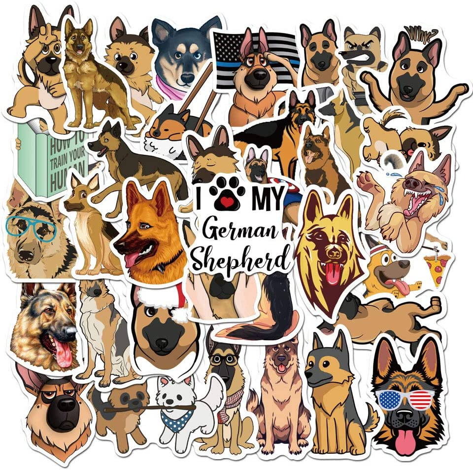 Dogs Stickers for Water Bottles [45 pcs], Waterproof Cute Funny German Shepherd Dogs Trendy Stickers Decals for Kids Teens, Perfect for Hydro Flask Skateboards Laptop MacBook Helmet Phone Car Suitcase