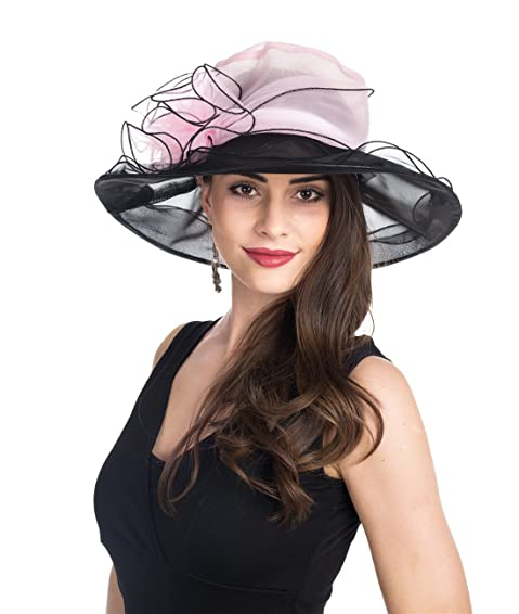 a8196a8271d ... best dress hats for women on the market in 2018  1. SAFERIN Women s  Organza Church Kentucky Derby Fascinator Bridal Cap British Tea Party  Wedding Hat