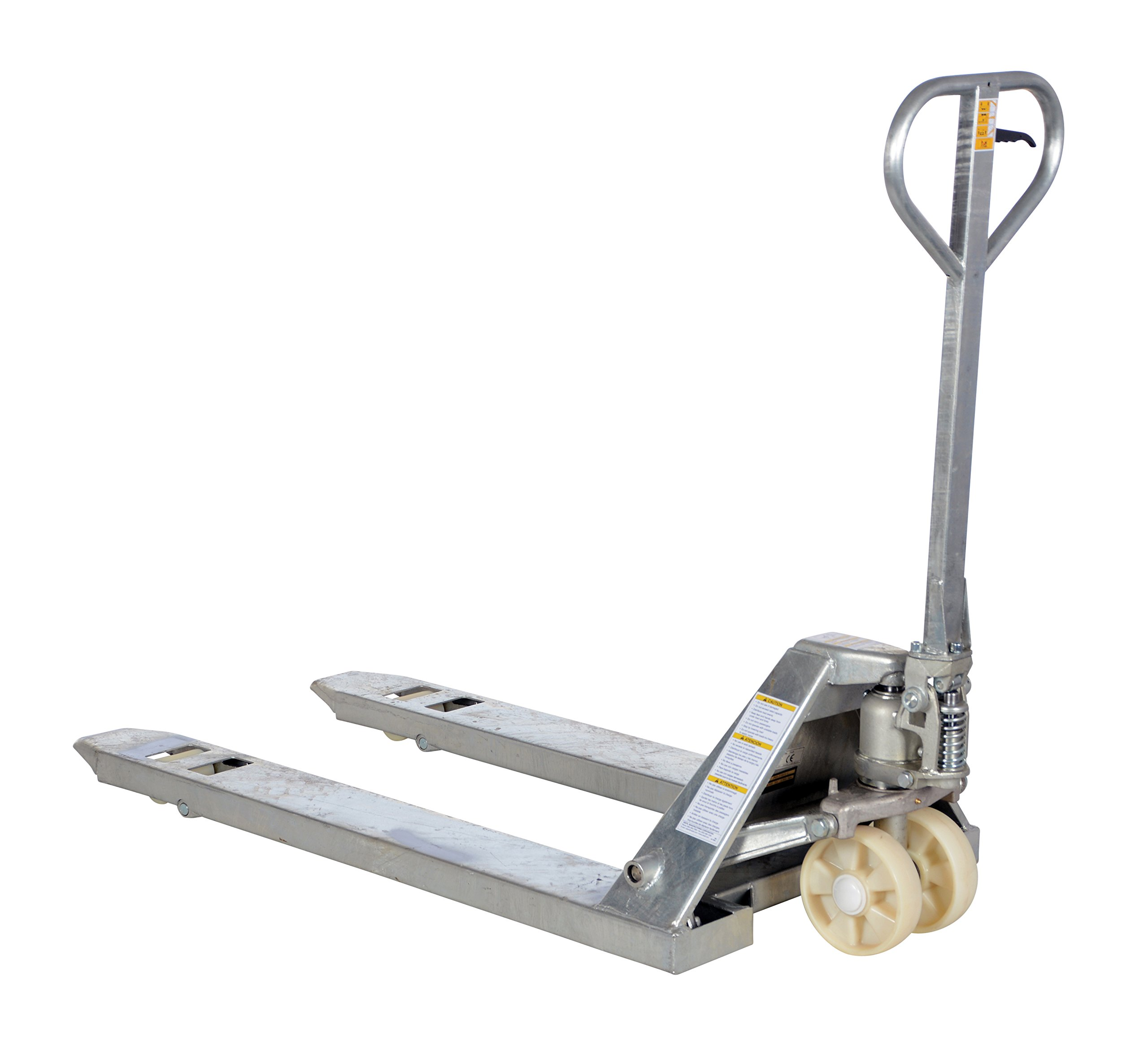 Vestil PM5-2748-S-G 304 Galvanized Steel Pallet Truck with Nylon Wheels, 5,500 lb. Capacity, 48'' Length x 27'' Width Fork