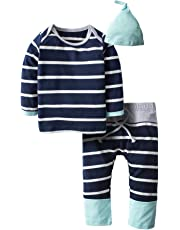 BIG ELEPHANT Baby Boys' 3 Pieces Cute Long Sleeve Tops Pants Clothing Set with Hat H94H69