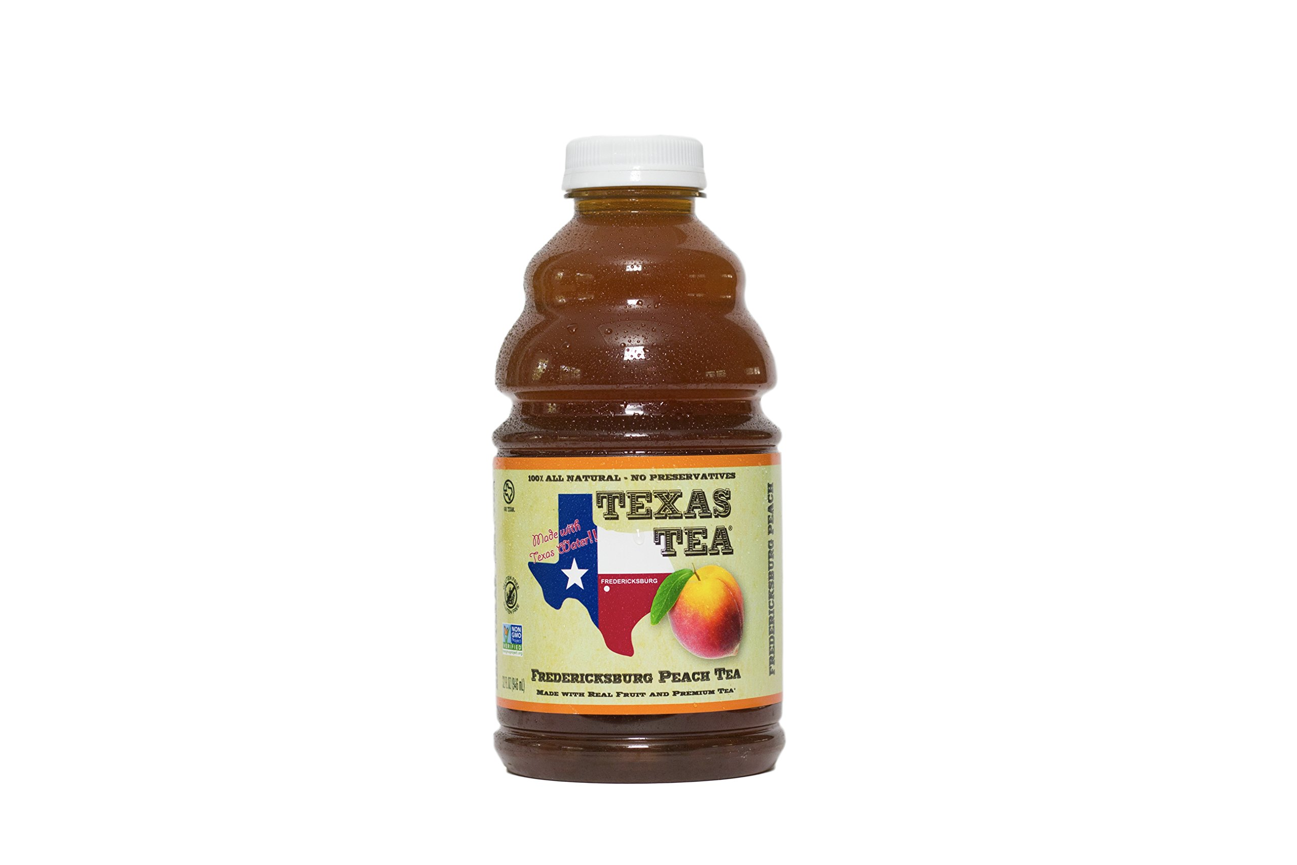 Texas Tea,Fredericksburg Peach Tea, Made With Real Peaches and Organic Tea, 32 Fluid Ounce Bottles (Pack of 6)