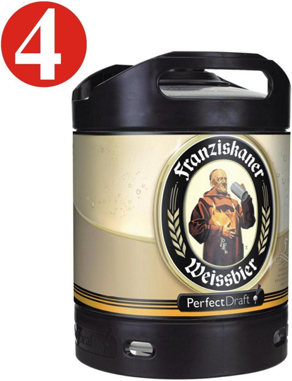 4x Cerveza Franziskaner Weissbier Perfect Draft 6 tambor litro 5,0% vol