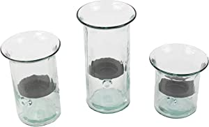 MY SWANKY HOME Recycled Glass Hurricane Votive Candle Holder Set Three Rustic Metal Insert