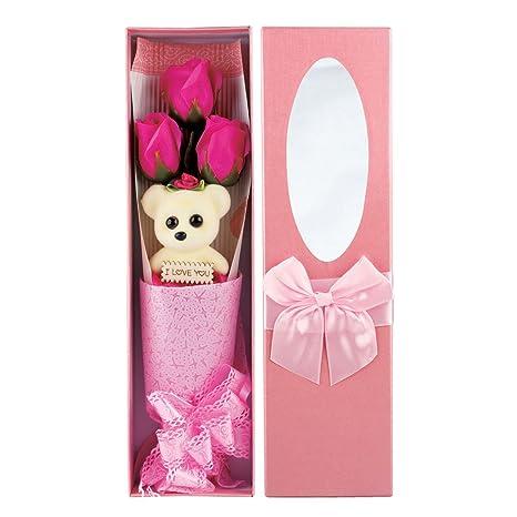 kufox3pcs/caja romántico rosa flores de jabón con pequeño oso, grandes regalos para el