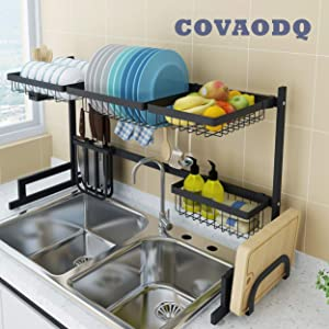 Dish Drying Rack Over Sink, Drainer Shelf for Kitchen Drying Rack Organizer Supplies Storage Counter Kitchen Space Saver Utensils Holder Stainless Steel (Sink Size≤32 1/2 Inch, Black)