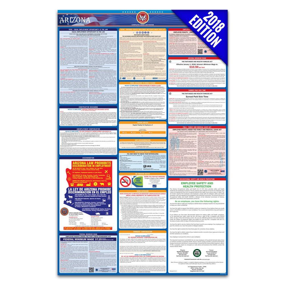 Amazon Com 2018 Arizona Labor Law Poster State Federal