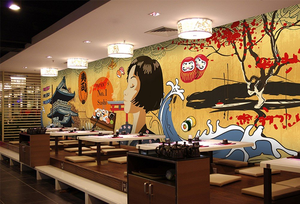 Colomac Wall Mural Japanese Retro Architecture Cartoon Characters Mural Suitable for Japanese Restaurant Cafe Wallpaper 196.8 Inch x 78.8 Inch by colomac (Image #3)