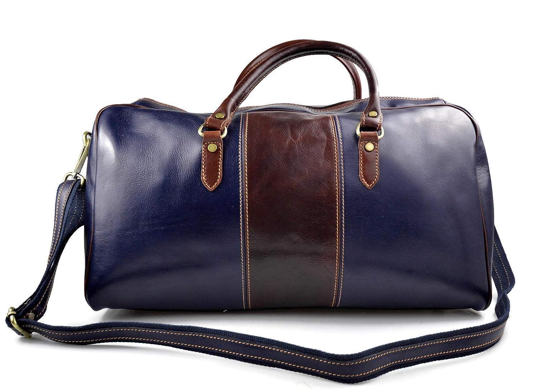 Sac de voyage homme femme bandouli/ère en cuir sac de sport bagage /à main bleu marron sac de voyage sac sport cuir sac bagage cuir