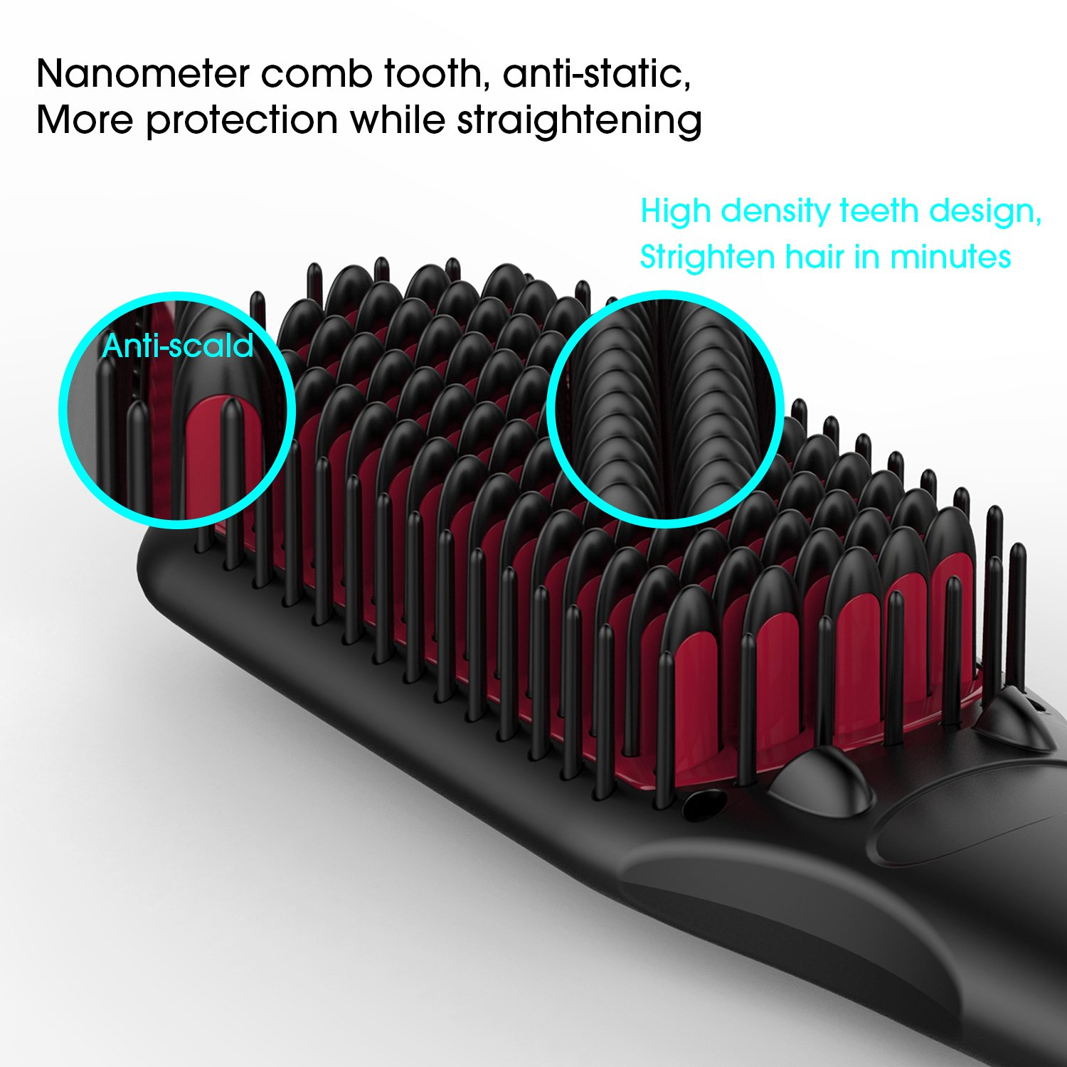 Enhanced Hair Straightener Brush by MiroPure, 2-in-1 Ionic Straightening Brush with Anti-Scald Feature, Auto Temperature Lock and Auto-off Function (Black) by MiroPure (Image #3)